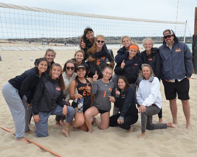 The Ventura College women's beach volleyball team celebrates completing a perfect 12-0 Western State Conference season on Friday afternoon at Ventura Harbor.