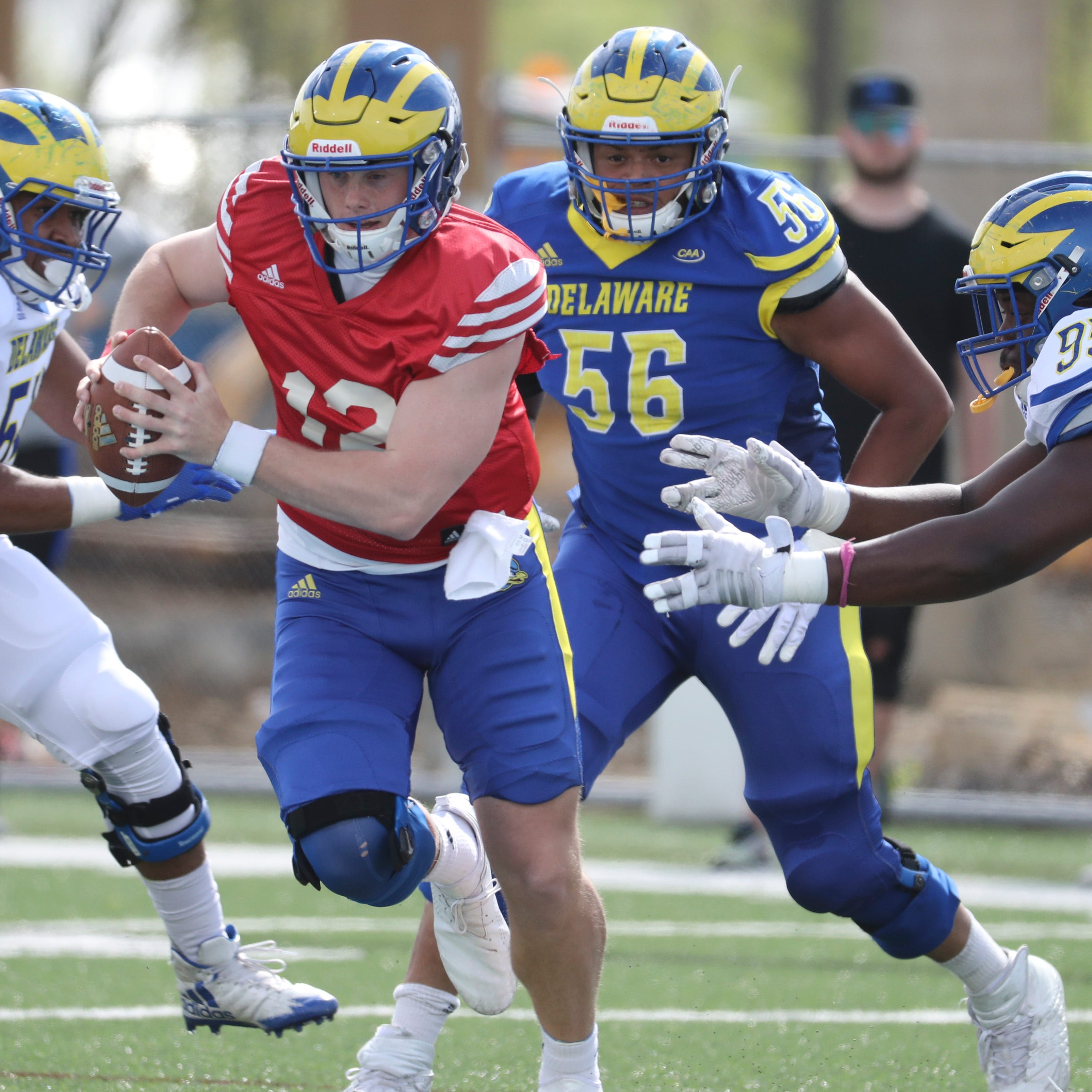 Defense rules in Delaware Blue-White football spring game