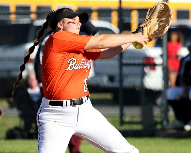 Burkburnett's Jocelyn Bright pitches against Vernon Friday, April 19, 2019, in Burkburnett. The Lady Lions defeated the Lady Bulldogs 5-2.