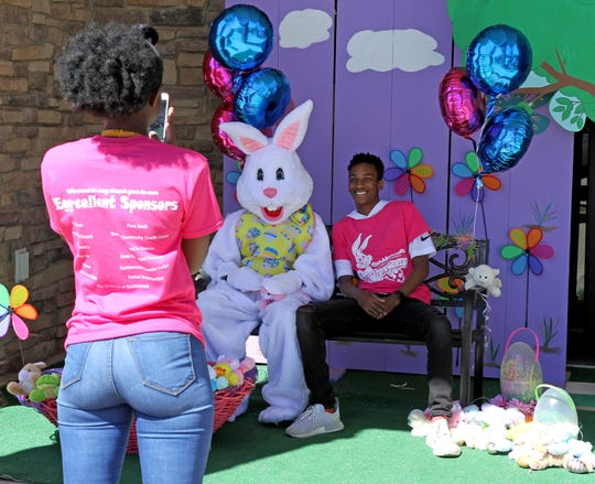 People get there photos taken with the Easter Bunny at Eggstravaganza Saturday, April 20, 2019, at The River Assembly of God in Burkburnett.