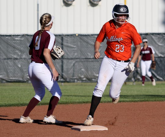Burkburnett's Kelsea Armstrong rounds second on a triple against Vernon Friday, April 19, 2019, in Burkburnett. The Lady Lions defeated the Lady Bulldogs 5-2.