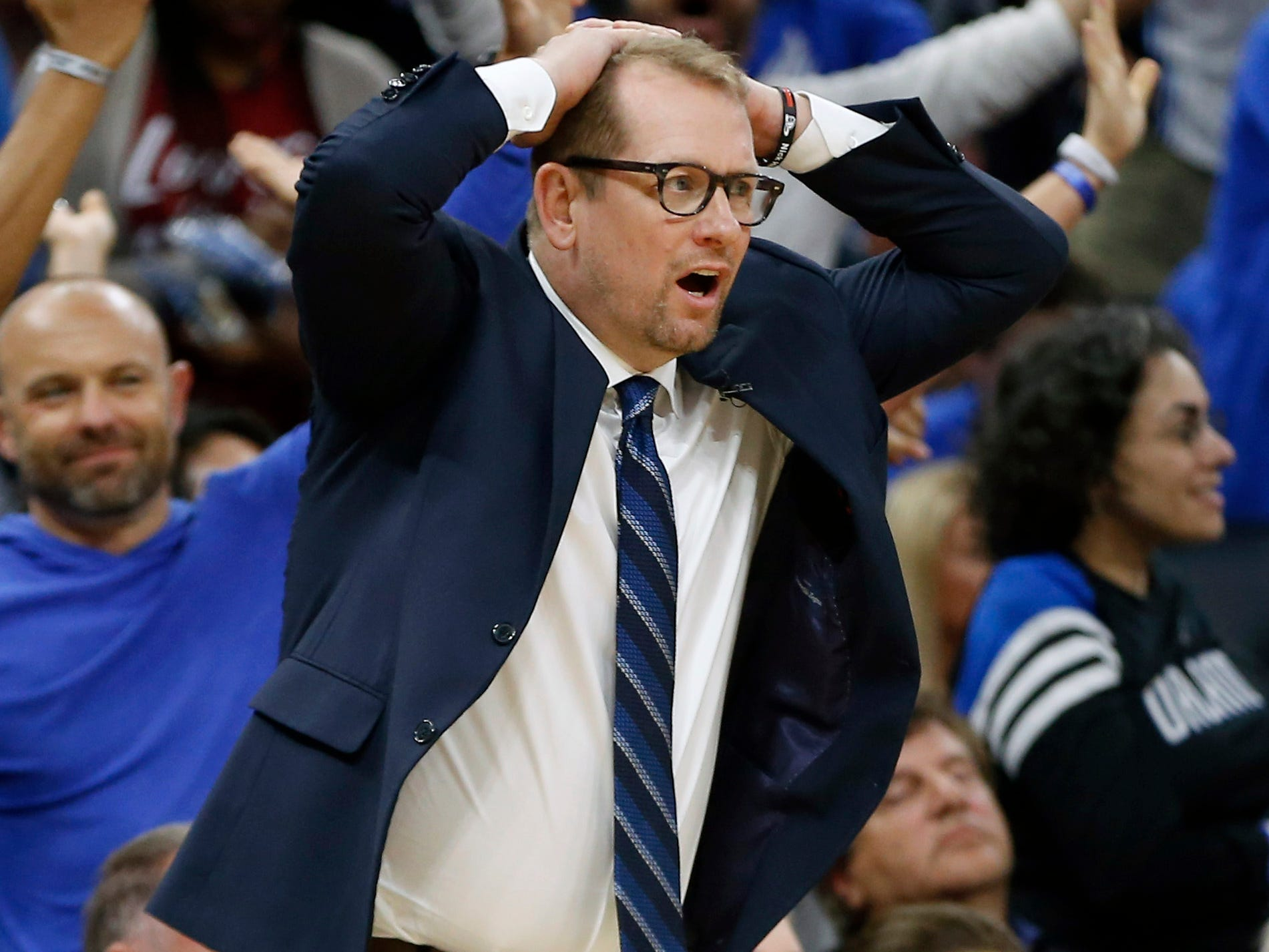 April 19: Raptors coach Nick Nurse can't believe the call during Game 3 against the Magic.