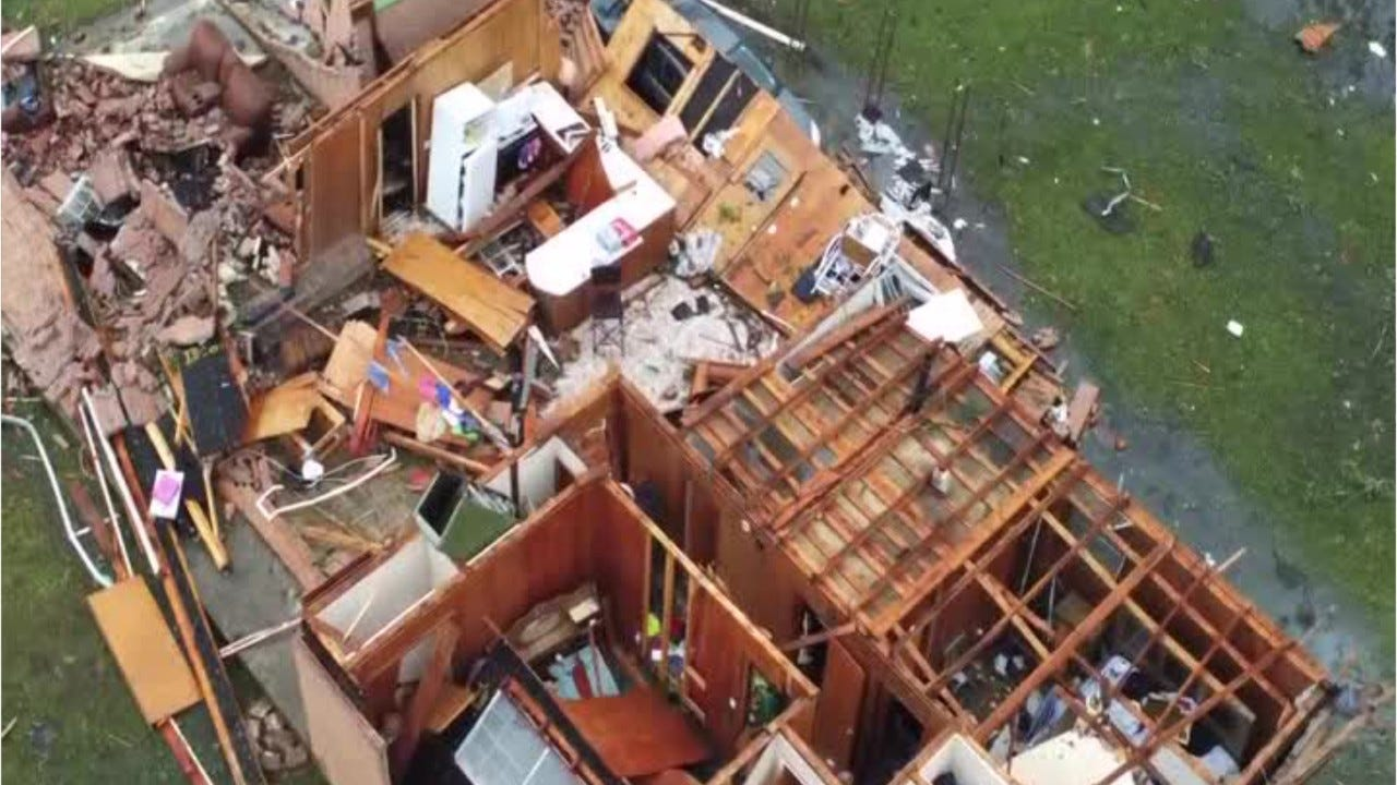 Drone shows homes ravaged by Mississippi tornado