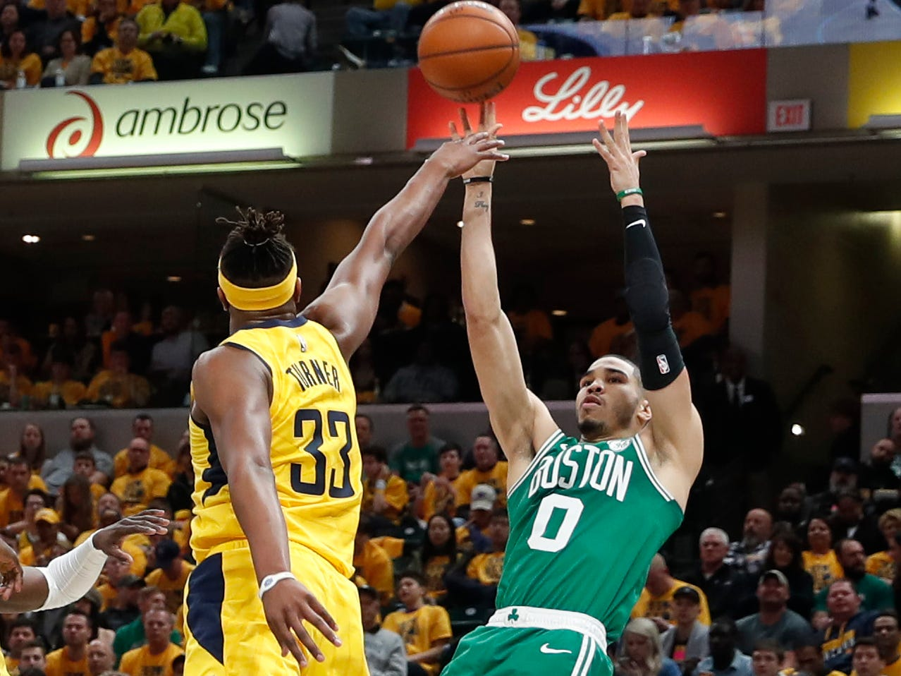 April 19: Celtics forward Jayson Tatum (0) shoots the fallaway jumper over Pacers defender Myles Turner (33) during Game 3.