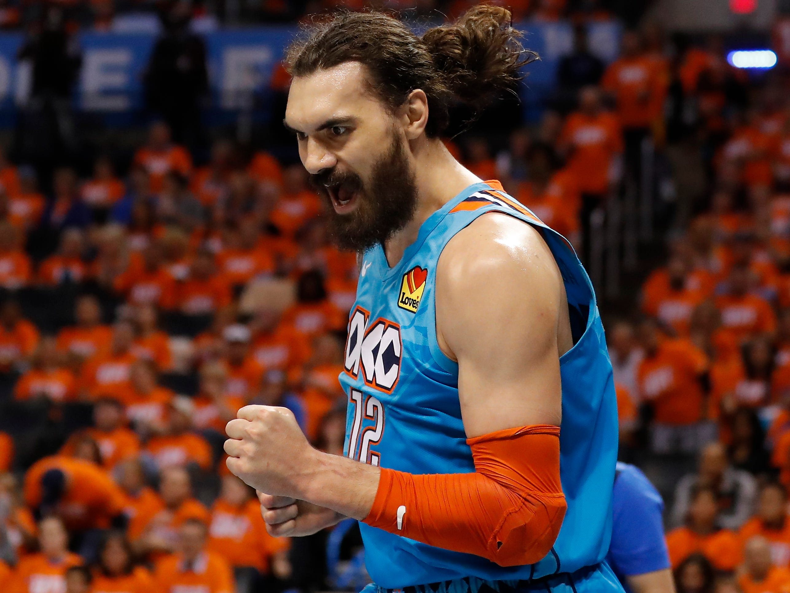 April 19: Thunder center Steven Adams gets fired up after a second-half bucket during Game 3 against the Trail Blazers.