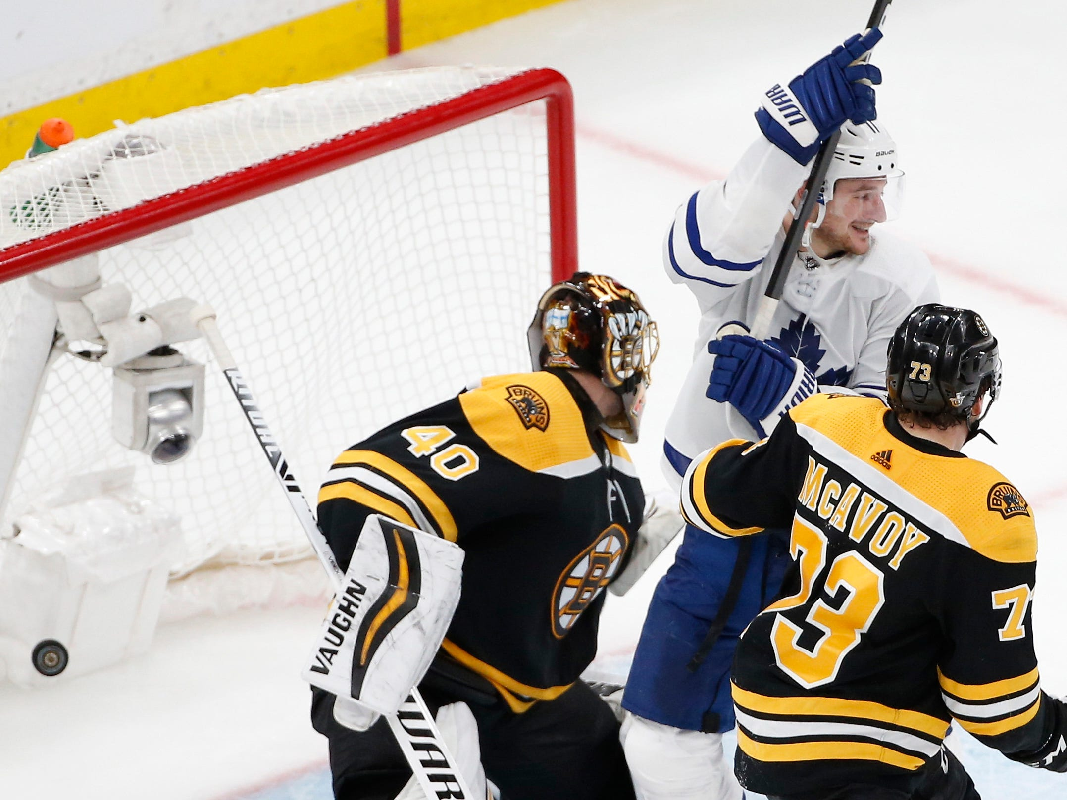 First round: Maple Leafs left wing Zach Hyman celebrates a goal by Auston Matthews in Game 5. The Bruins challenged whether Hyman interfered with Bruins goalie Tuukka Rask, but the NHL ruled it a good goal.