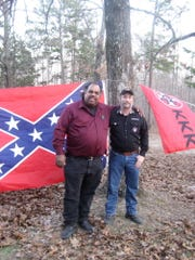 "Daryl Davis, a Silver Springs, Md. musician and author,  meets with Frank Ancona of Park Hills, Mo., during March 2013 in Missouri, as part of his strategy to reach out to Klansmen to win them over and dismantle the organization through conversation. Anoona says he has served five years as ""Imperial Wizard"" for the modern strain of the Ku Klux Klan that calls itself the ""American Traditionalist Knights."" (Gannett/courtesy of Daryl Davis via The Des Moines Register) ORG XMIT: GANNETT [Via MerlinFTP Drop]"