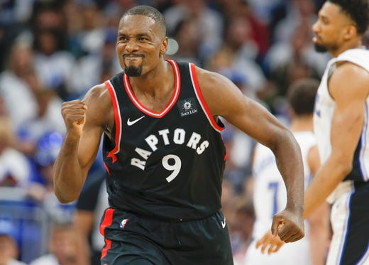April 19: Raptors center Serge Ibaka gets fired up after a big 3-pointer during Game 3 against the Magic in Orlando.