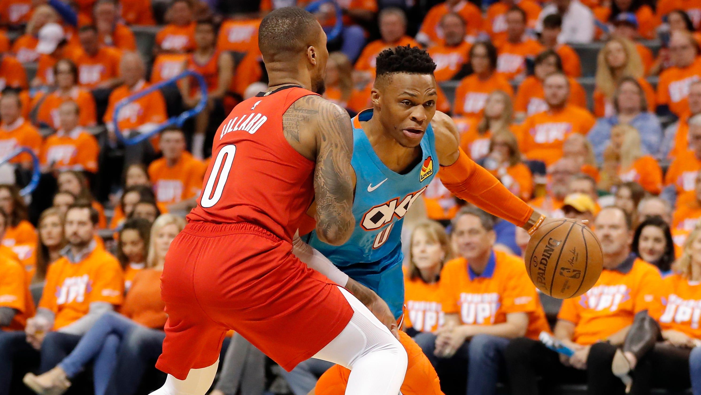 b8f2c9acb5b NBA playoffs: Westbrook out-duels Lillard as Thunder win Game 3
