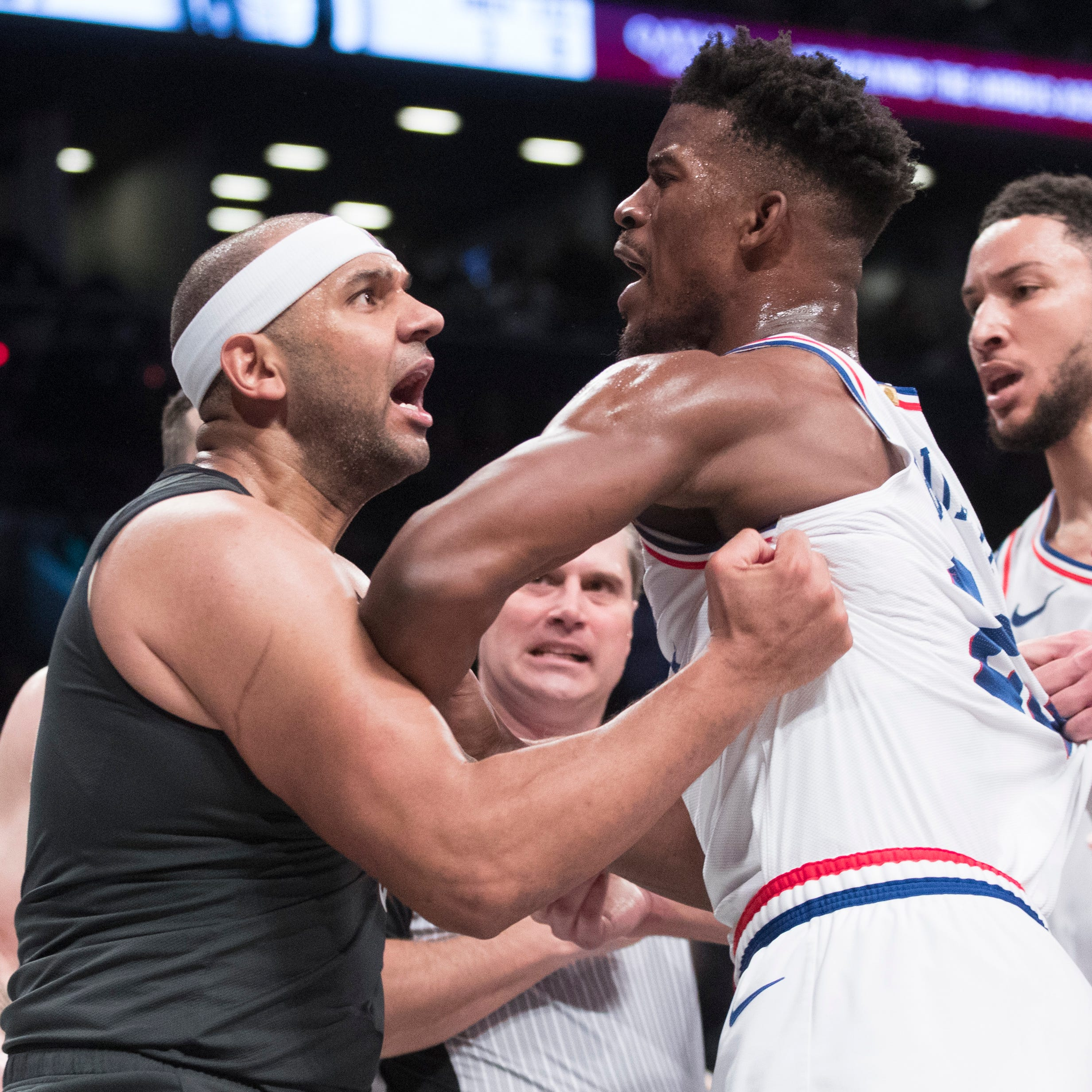 Jimmy Butler, Jared Dudley ejected after skirmish between 76ers, Nets