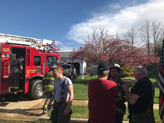 Firefighters extinguished a blaze that broke out in a garage of a home on Mistletoe Court in Howell on Easter Sunday, April 21, 2019.