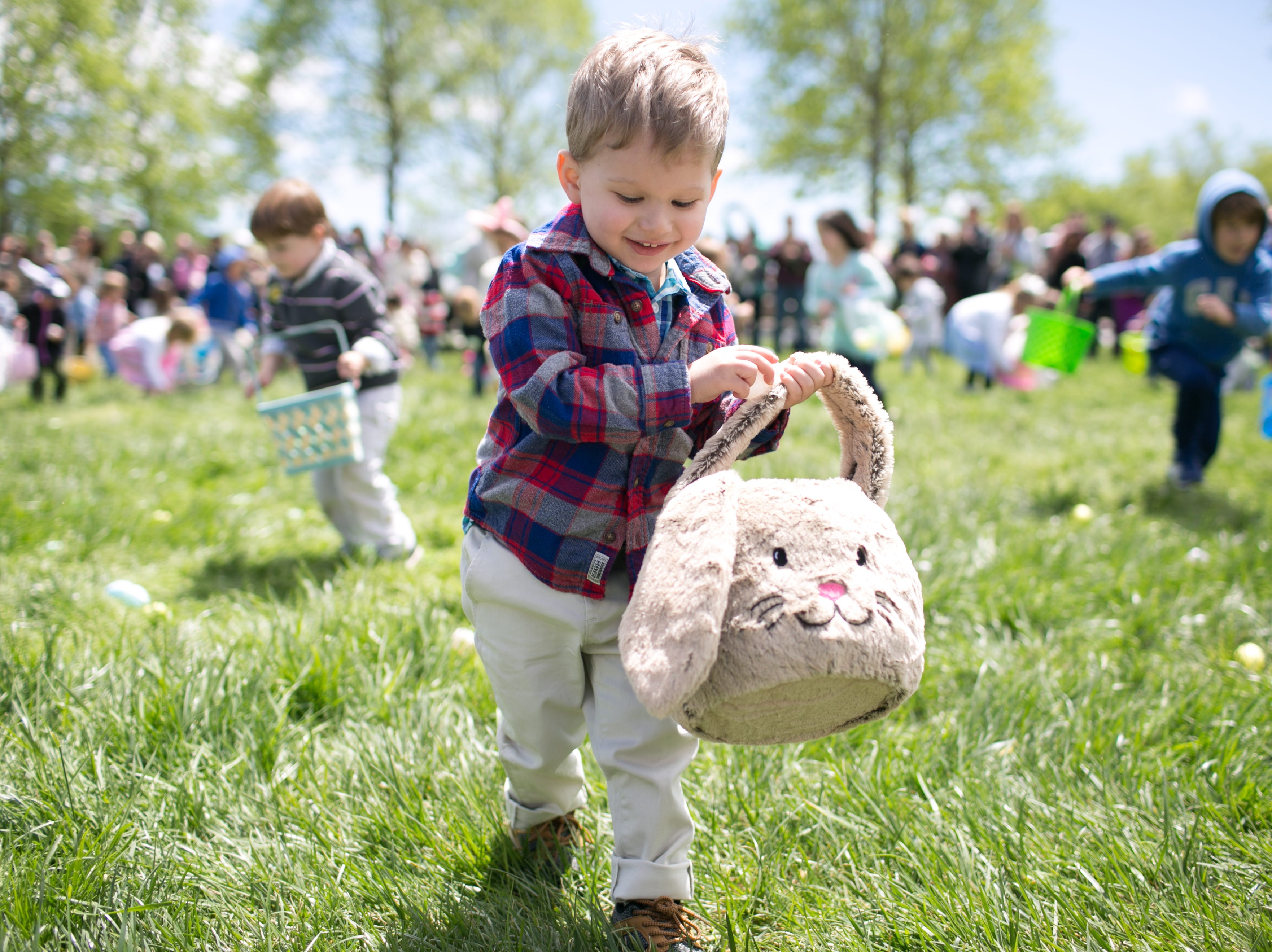William Grayson, 2, of Fletcher, searches for eggs during the Biltmore Estate's Easter egg hunt on April 21, 2019. Biltmore's hunt is one of the Southeast's largest, with hundreds of children ages 2–9.