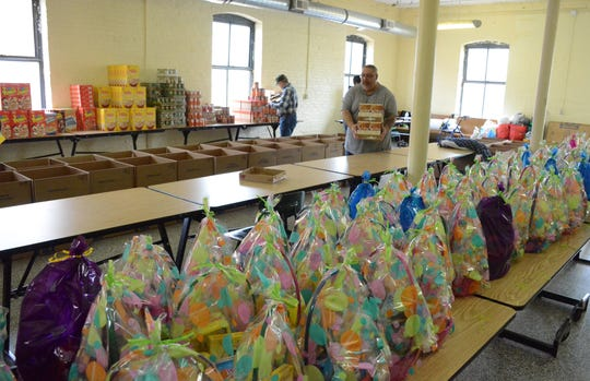 Food and 110 Easter baskets were distributed Saturday.