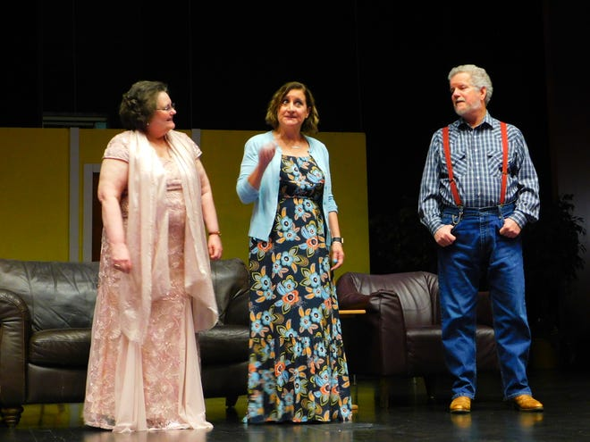 """Jo Marie (Palmer Scheutzow, middle) shares some memories with Abigail (Kathleen Martin) and Joshua (Jerry Schneider) in CSTOCK's production of """"The Inn at Rose Harbor."""""""
