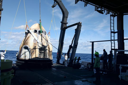 On March 8, 2019, SpaceX's Crew Dragon was loaded onto the company's recovery ship, Go Searcher, in the Atlantic Ocean, about 200 miles off Florida's east coast after returning from the International Space Station on the uncrewed Demo-1 mission. The same capsule was being prepared to fly an in-flight abort test from Kennedy Space Center as soon as June.