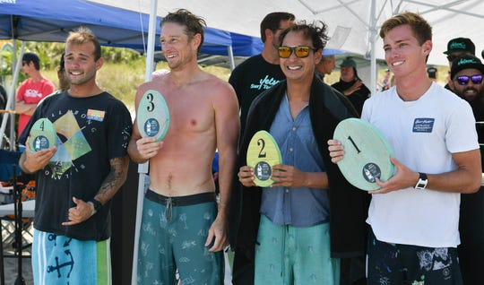Winners show off their prizes at the 55th Easter Surf Fest.
