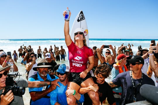 Caroline Marks of Melbourne Beach  wins the 2019 Boost Mobile Pro Gold Coast after winning the final at Duranbah Beach on April 8, 2019 in Queensland, Australia. At age 17, she becomes the No. 1 women's surfer in the world.