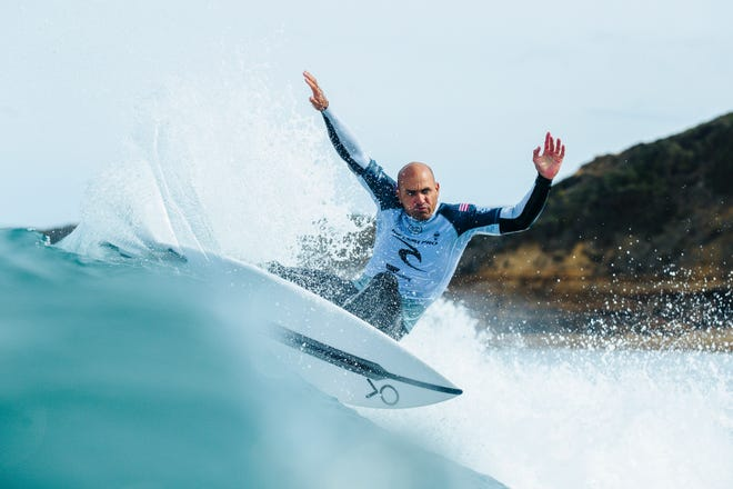 Kelly Slater of Cocoa Beach advanced directly to Round 3 of the 2019 Rip Curl Pro Bells Beach after placing second in Heat 3 of Round 1 at Bells Beach on April 18, 2019 in Victoria, Australia.