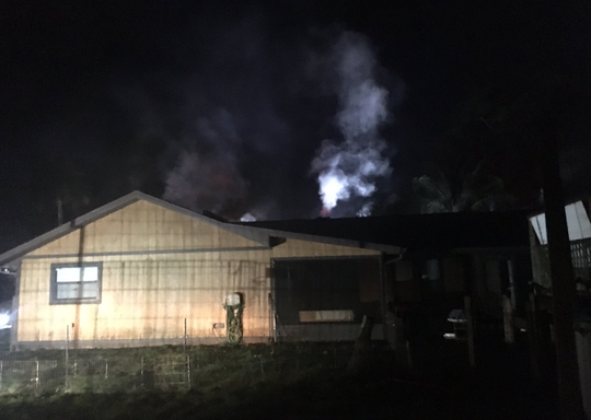 An attic fire broke out Saturday morning in the 3600 block of Canaveral Groves Boulevard, west of Grissom Parkway.