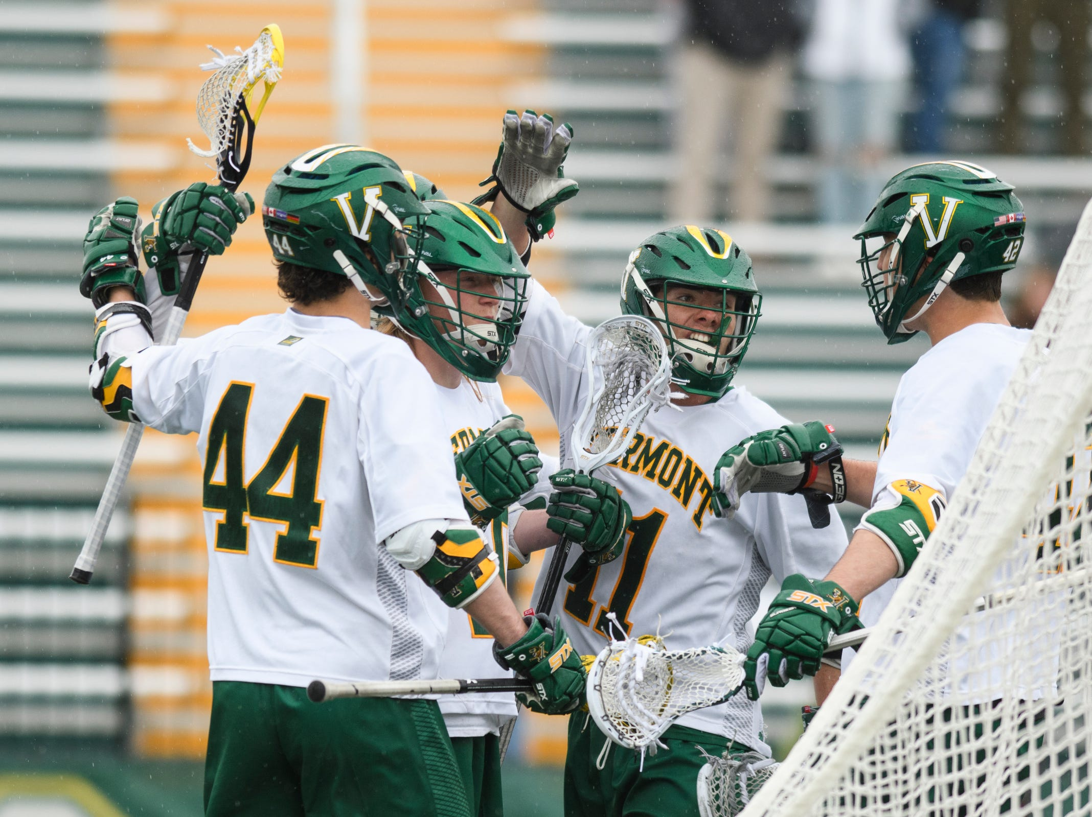 Vermont celebrates a goal during the men's lacrosse game between the Stony Brook Sea Wolves and the Vermont Catamounts at Virtue Field on Saturday afternoon April 20, 2019 in Burlington, Vermont.
