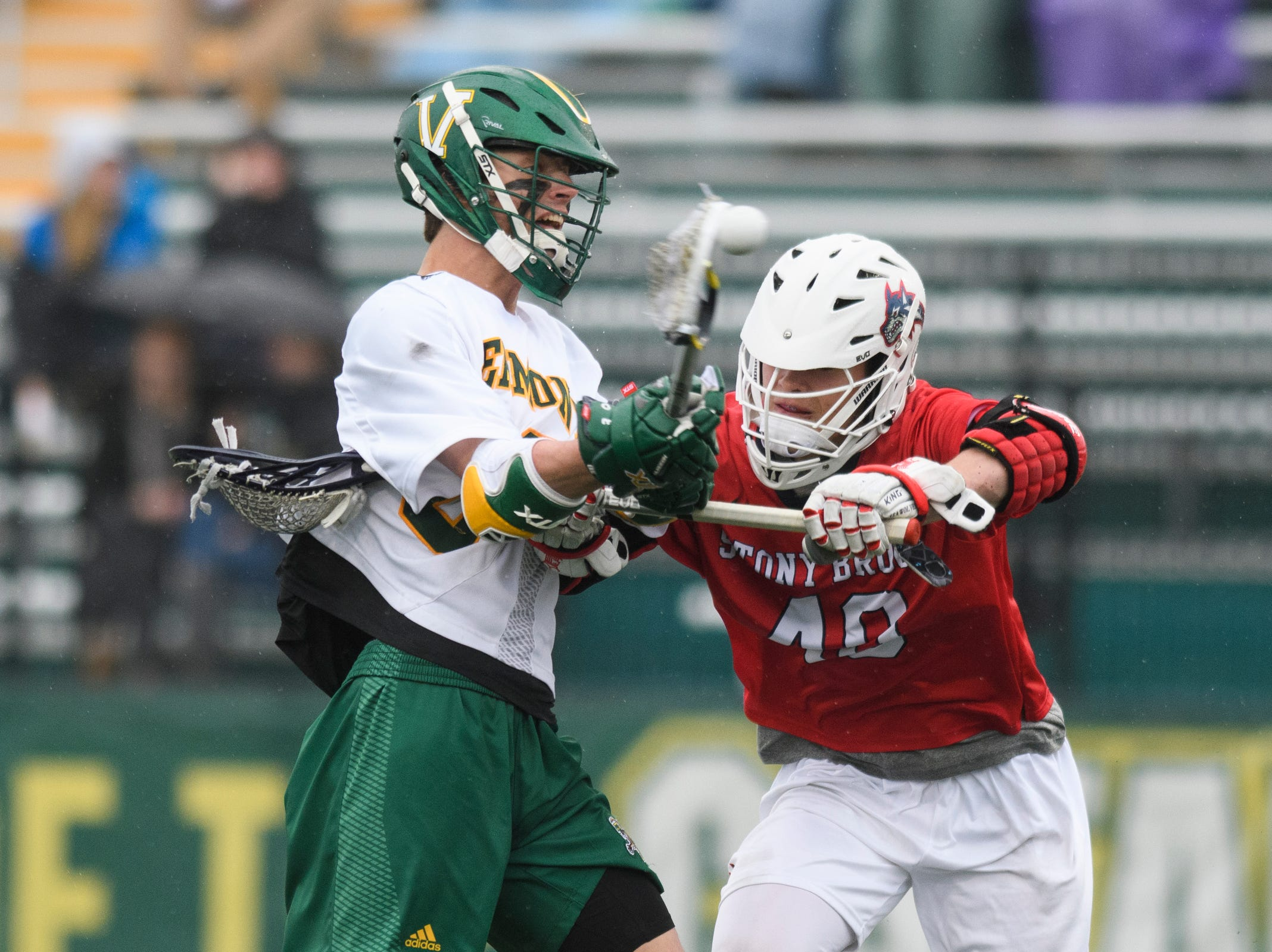 Vermont's Sal Iaria (30) shoots the ball during the men's lacrosse game between the Stony Brook Sea Wolves and the Vermont Catamounts at Virtue Field on Saturday afternoon April 20, 2019 in Burlington, Vermont.