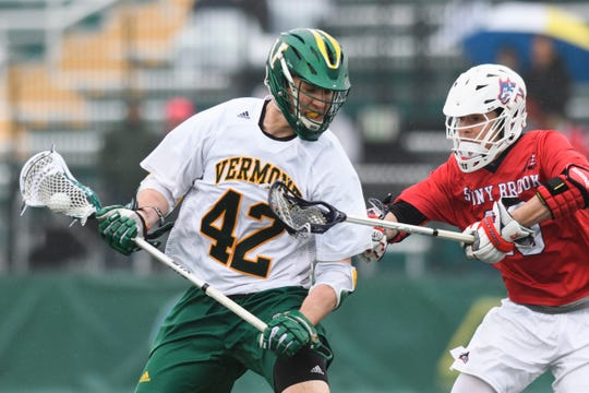 during the men's lacrosse game between the Stony Brook Sea Wolves and the Vermont Catamounts at Virtue Field on Saturday afternoon April 20, 2019 in Burlington, Vermont.