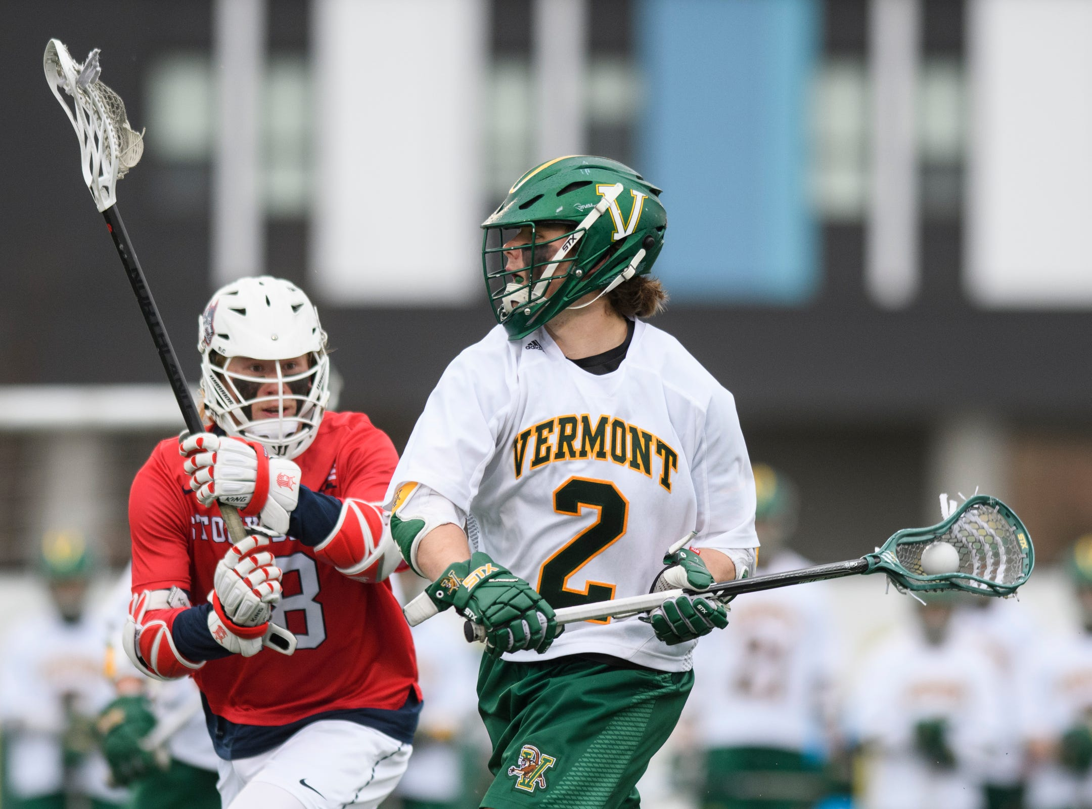 Vermont's Jack Knight (2) looks to take a shot during the men's lacrosse game between the Stony Brook Sea Wolves and the Vermont Catamounts at Virtue Field on Saturday afternoon April 20, 2019 in Burlington, Vermont.