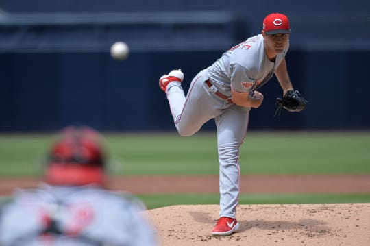 Cincinnati Reds starting pitcher Tyler Mahle (30) pitches against the San Diego Padres during the first inning at Petco Park.