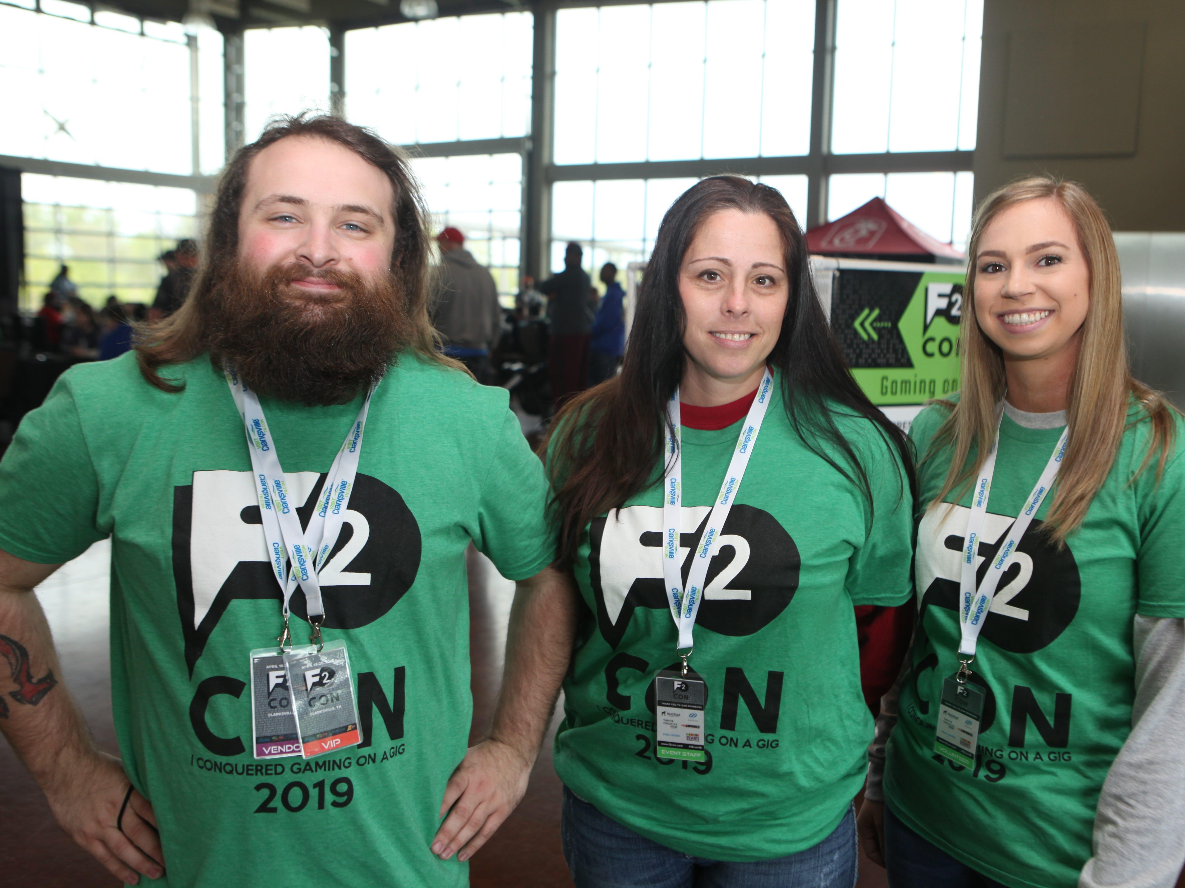 Phil Priem, Jennifer Mills and Sarah Eaken at the second annual F2 Con Gaming Tournament on Saturday, April 20, 2019.