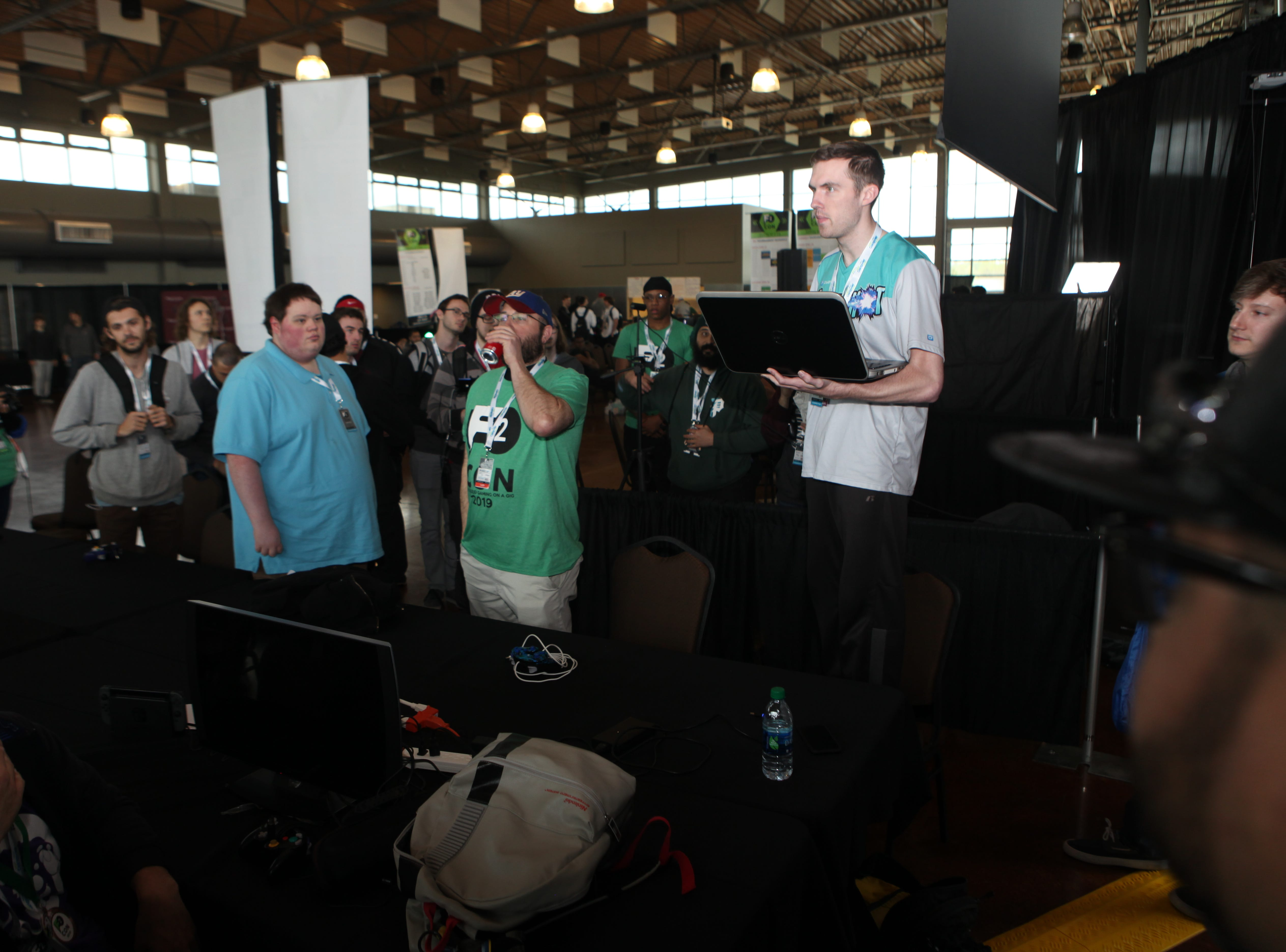 Phelan Ward, tournament organizer for the Smash Brothers Competition, at the second annual F2 Con Gaming Tournament on Saturday, April 20, 2019.