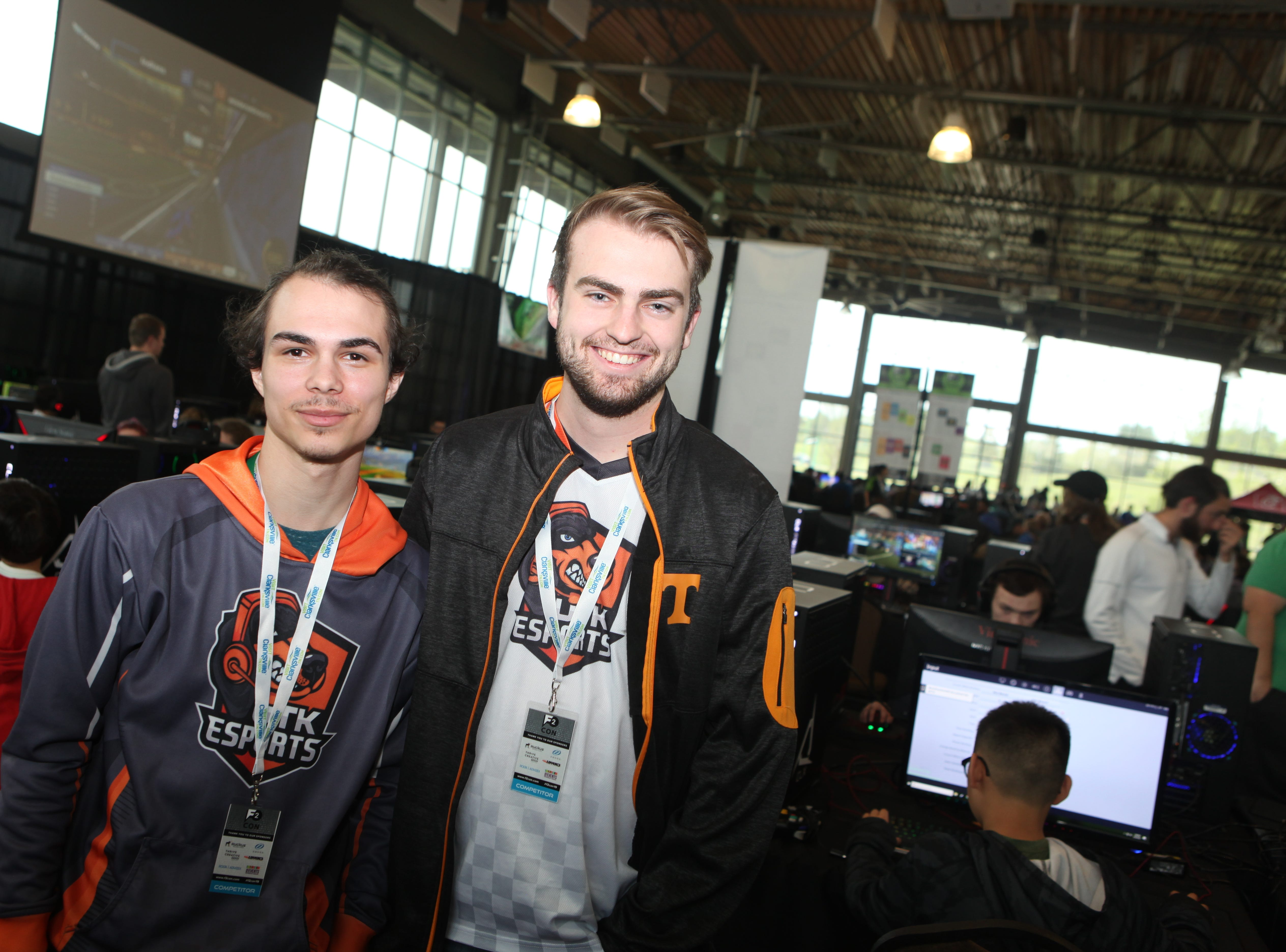 Pub G Tournament Champion Aaron Stone and Michael Slandzicki representing UT Knoxville's E Sports Team at the second annual F2 Con Gaming Tournament on Saturday, April 20, 2019.
