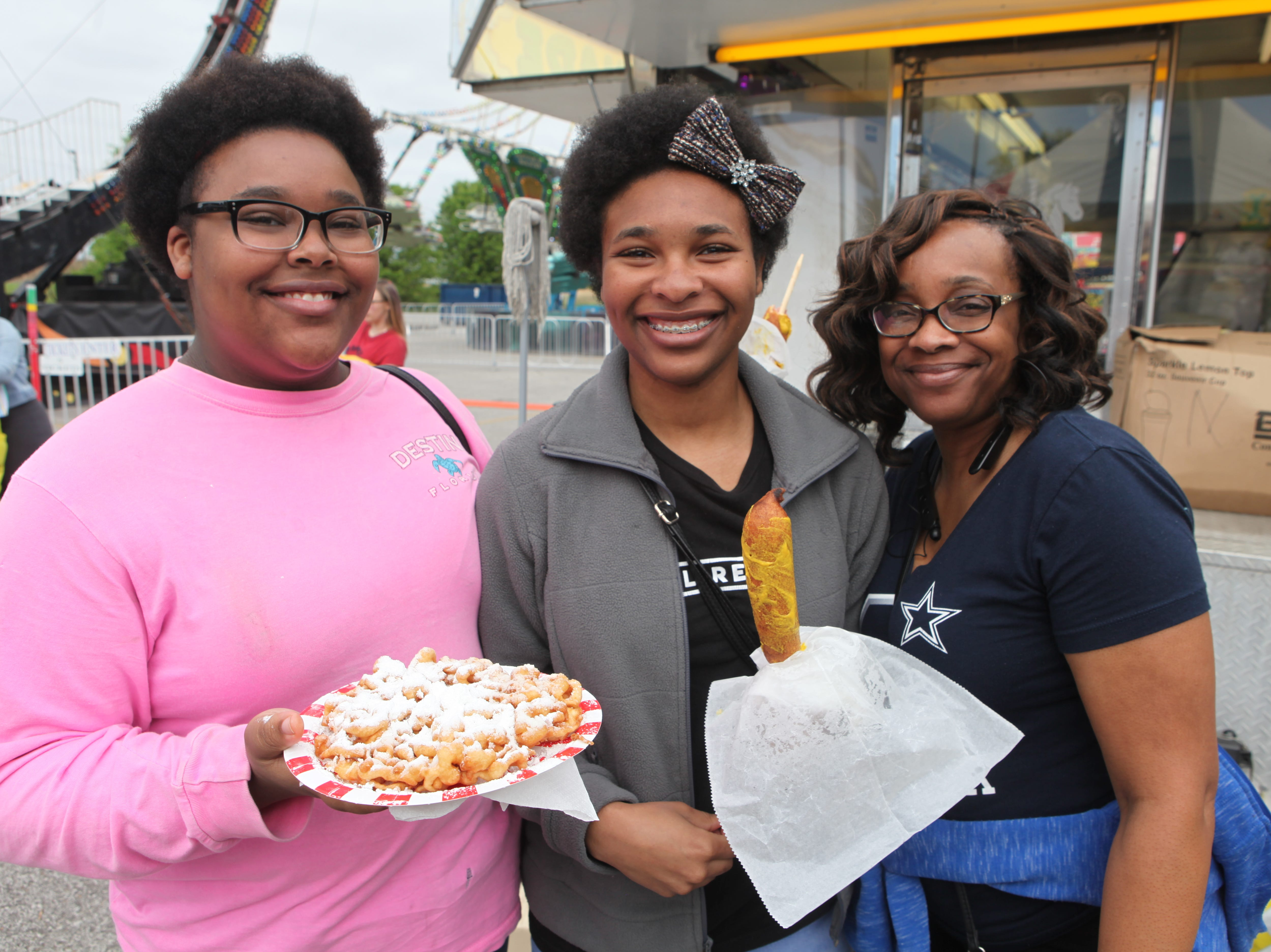 Autumn, Essence and Kesha Eddins at Governor's Square Mall's Spring Carnival on Saturday, April 20, 2019.