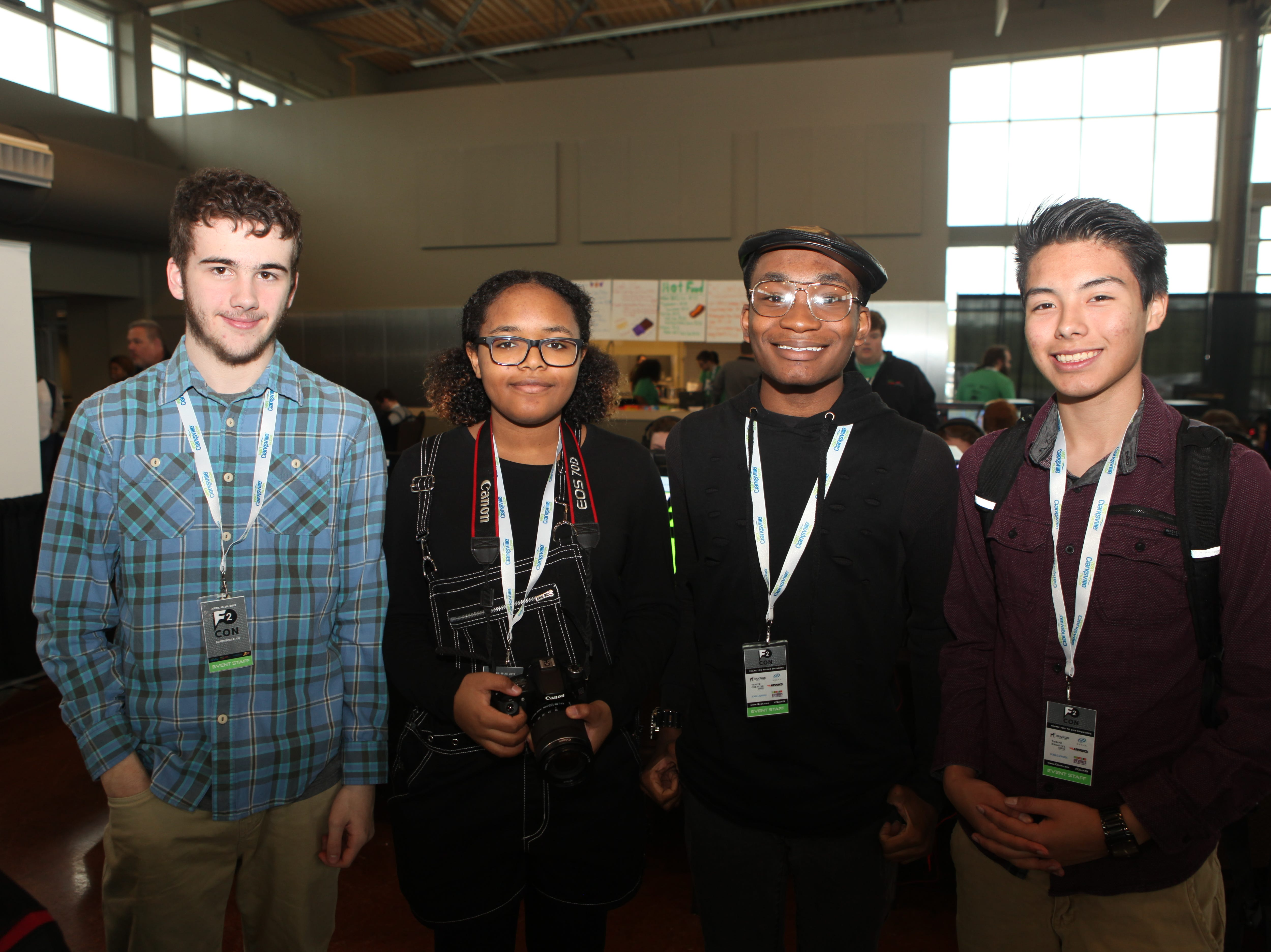 Alex Humphrey, Jordan Henry, Donovan Barker and Micah Olivis from West Creek High School at the second annual F2 Con Gaming Tournament on Saturday, April 20, 2019.