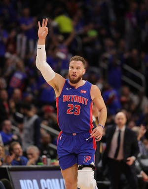 Detroit Pistons forward Blake Griffin celebrates a basket against the Milwaukee Bucks in the first quarter of Game 3 of the playoffs Saturday, April 20, 2019 at Little Caesars Arena.
