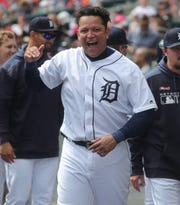 Detroit Tigers DH Miguel Cabrera celebrates after a home run by Gordon Beckham during the seventh inning against the Chicago White Sox, Sunday, April 21, 2019 at Comerica Park.