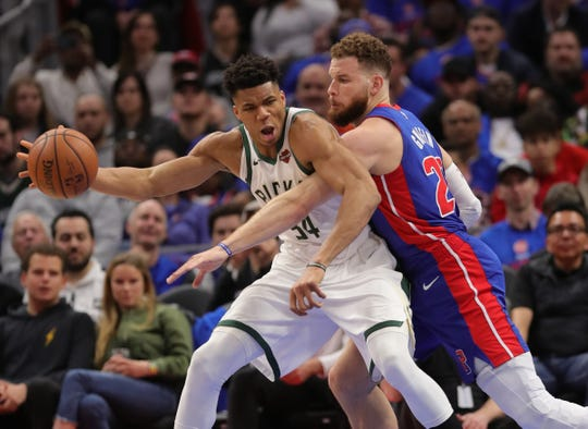 Blake Griffin defends Giannis Antetokounmpo during Game 3.