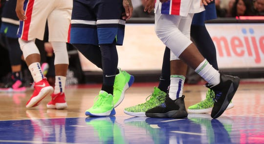 Basketball shoes worn by Pistons and Timberwolves players March 6 at Little Caesars Arena.