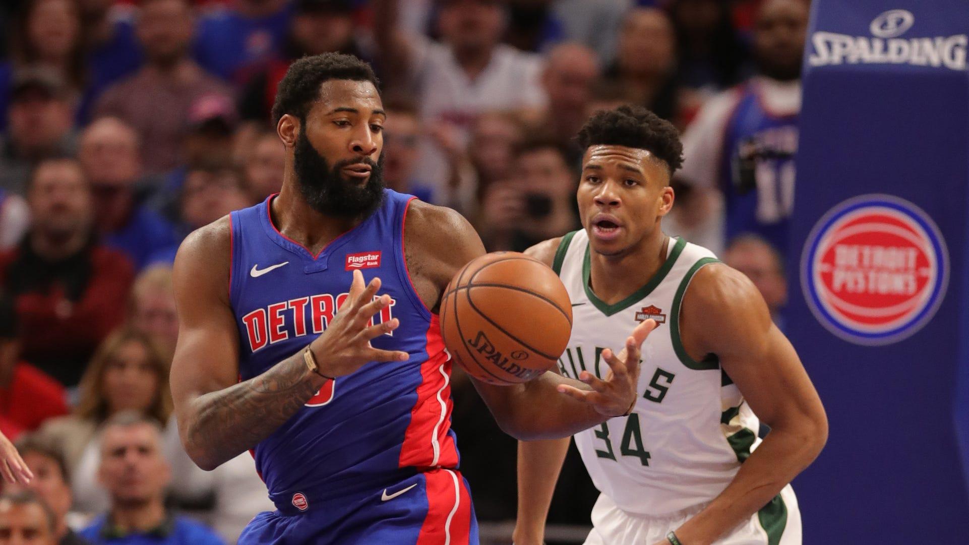 Detroit Pistons center Andre Drummond rebounds...