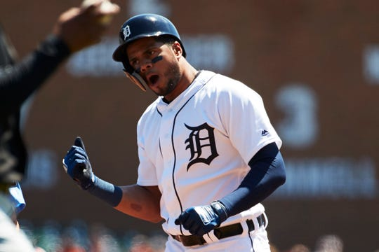 Detroit Tigers third baseman Jeimer Candelario (46) celebrates after he hits a triple in the second inning against the Chicago White Sox at Comerica Park.