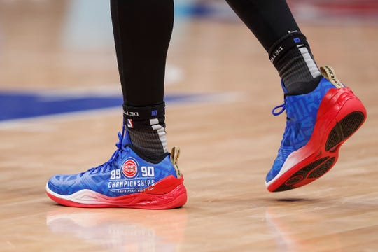 Langston Galloway's shoes during the Pistons-Trail Blazers game at Little Caesars Arena, March 30.