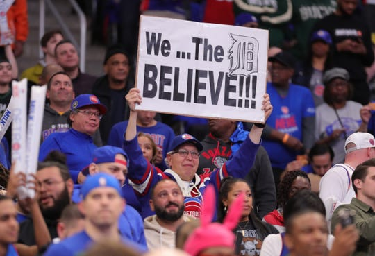 Detroit Pistons fans cheer during action against the Milwaukee Bucks in Game 3 of the playoffs Saturday, April 20, 2019 at Little Caesars Arena.