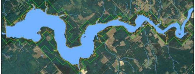 From an aerial view, the 47-mile hiking and biking trail encircles a dam-formed pond that resembles the shape of a dragon.
