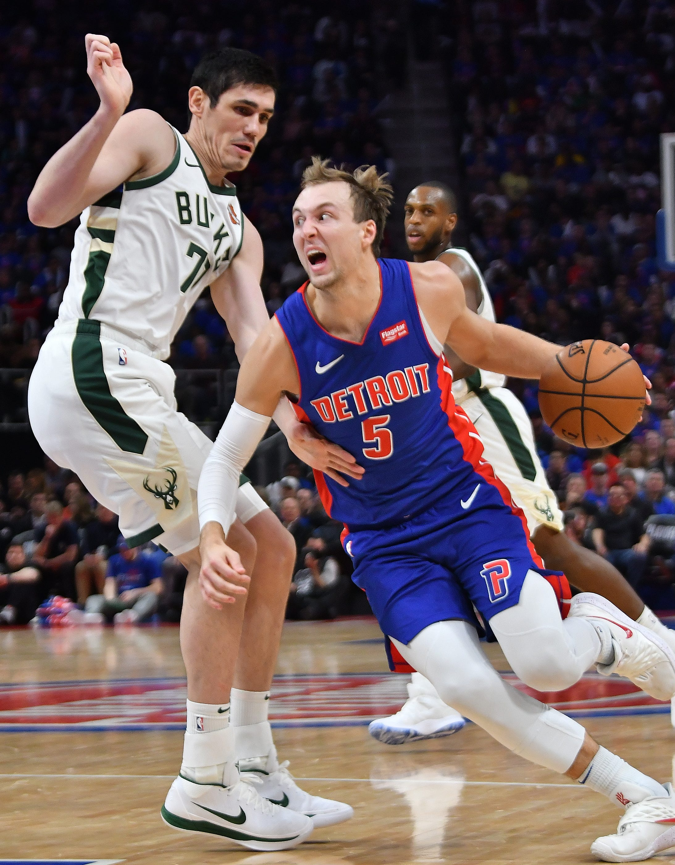 Pistons guard Luke Kennard is averaging 16.3 points and shooting 50 percent from the floor through three playoff games.