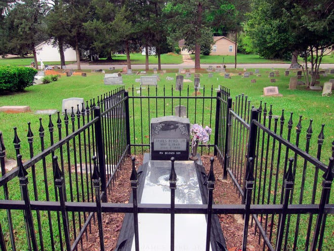 The gravesite of James Byrd Jr. in Jasper, Texas. Byrd was killed on June 7, 1998, after he was chained to the back of a pickup truck and dragged for nearly three miles along a secluded road in the piney woods outside Jasper.