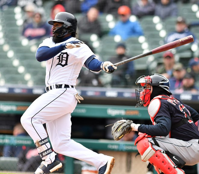 Tigers lead-off hitter Josh Harrison is batting .122 to open the season.
