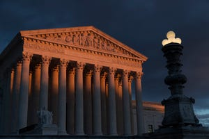 The Supreme Court is seen at sunset in Washington.
