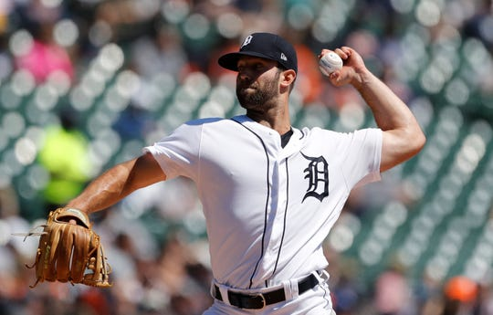 Detroit Tigers starting pitcher Daniel Norris throws during the third inning Sunday.