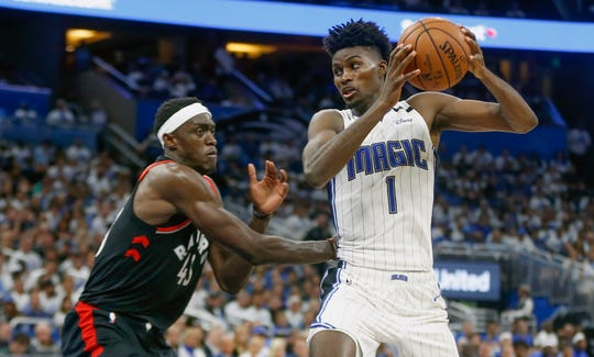 Former FSU standout and Orlando Magic forward Jonathan Isaac (1) scored 14 points and grabbed seven rebounds during a Game 3 loss to the Toronto Raptors.