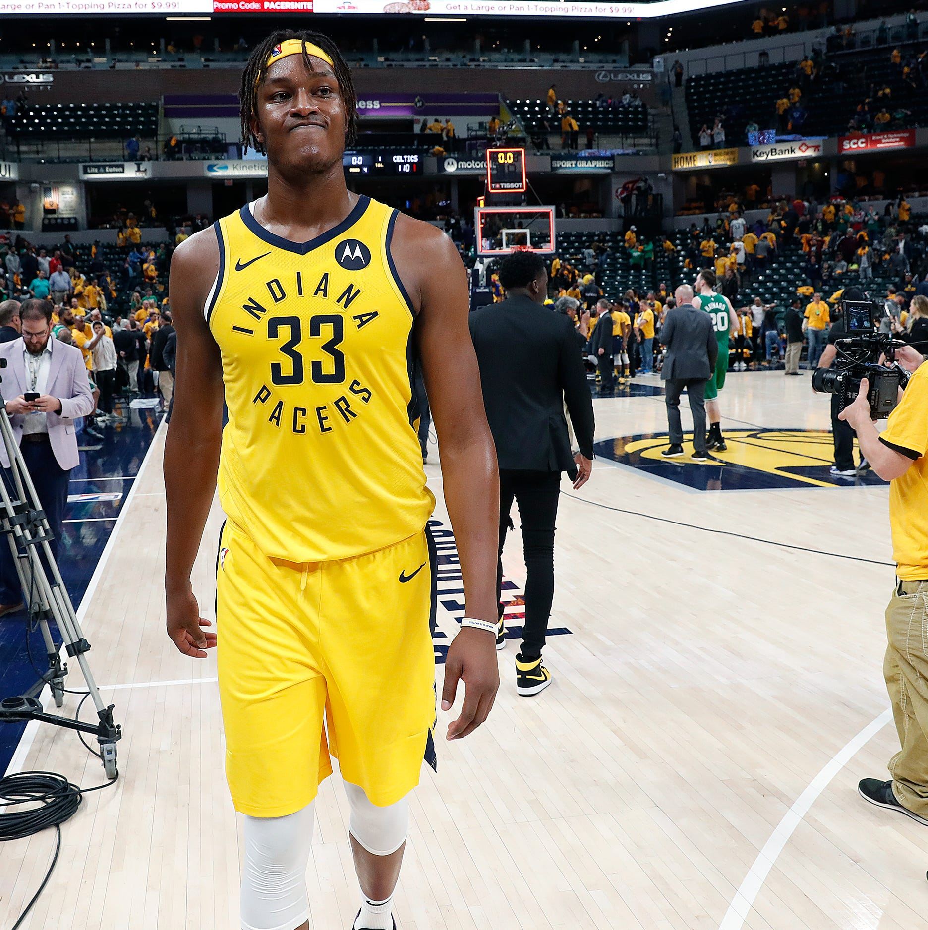 Indiana Pacers Myles Turner (33) walks off the...