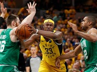 Pacers forward Myles Turner worked on post moves with Hall of Famer Kevin McHale